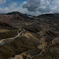 Looking west at the AntaKori copper-gold project with the Tantahuatay gold oxide mine over the hilltop.